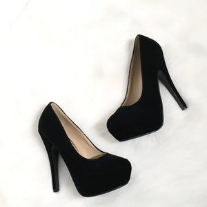 Black Suede Velvet Platform Black Heels Sz 5
